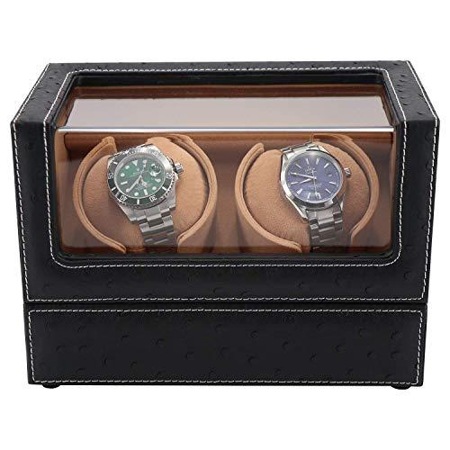 HFJKD Uhrenbeweger, Uhrenbeweger 2 Uhren, Uhrenbewegerbox für Automatikuhren oder Rolex Double Spacious für Jede Größe, AC Quot Super Quiet Japanese Motor von Watch Winder
