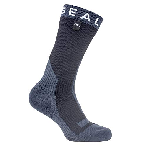 SealSkinz Waterproof Trekking Thick Mid Sock, Black/Anthracite, L