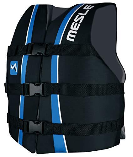 MESLE Universal-Schwimmweste Sportsman Junior, Universalgröße 30-41 kg, 50-N Auftriebsweste Schwimmhilfe Prallschutz, schwarz-blau, für Kinder und Jugendliche