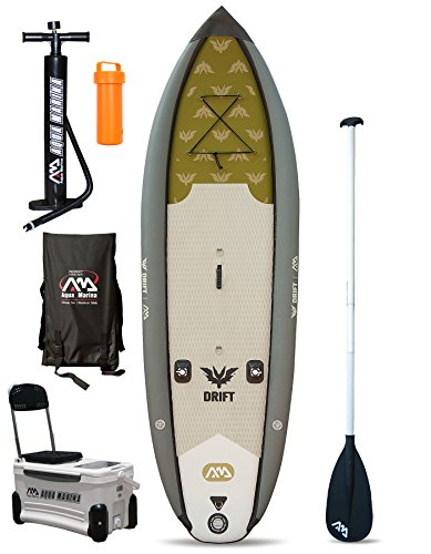Drift Angeln Specialist SUP aufblasbares Stand Up Paddle Board (Sim2 SM3 W 10 in/3 m) grau Board + Paddle