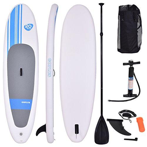 COSTWAY Sup-Board Paddelboard Surfboard Paddelbrett Stand Up Board Set aufblasbar inkl. Sicherungsleine 305 x 76 x 15cm
