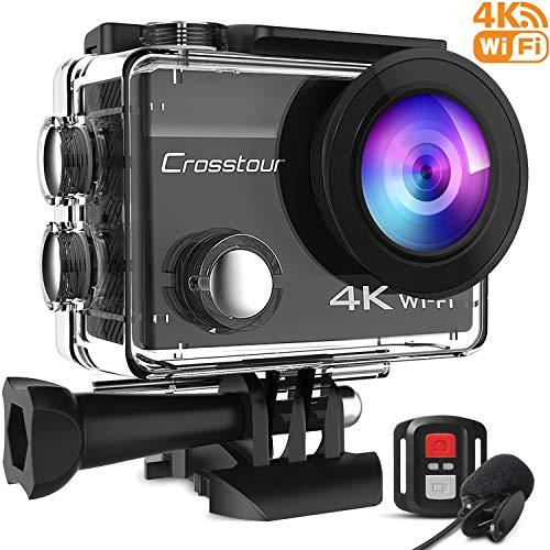 Crosstour CT8500 Action Cam 4K WiFi (16MP, Unterwasser 40m Wasserdicht, EIS Helmkamera, Fernbedienung und Externes Mikrofon)