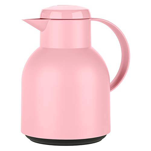 Emsa F4010300 Samba Isolierkanne (1 Liter, Quick Press Verschluss, 12h heiß, 24h kalt) puder-rosa