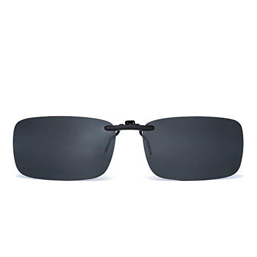 JM Randlos Rechteck Clip auf Sonnenbrille Leicht Gewichts Polarisiert Brillen Damen Herren(Polarisiertes Grau)