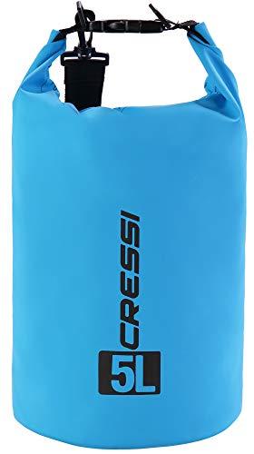 Cressi Unisex-Erwachsene Dry Bag-wasserdichte Taschen mit langem verstellbaren Schulterriemen Für Tauchen, Bootfahren, Kajak, Angeln, Rafting, Schwimmen, Camping und Snowboarden, Hellblau, 5 LT