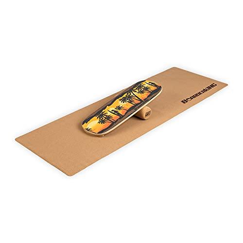 BoarderKING Indoorboard Hawaii inkl.Korkrolle und Bodenschutzmatte, effektives Core-Training für Zuhause, verbessert das Gleichgewicht, Skateboard, Surfboard, Balanceboard, surfen im Wohnzimmer