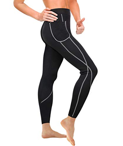 Gotoly Damen Neopren Sporthose Gewichtsverlust Sauna Hose Abnehmen Leggings Yoga Jogging Fitness Hot Thermo Sweat Gym Tights Wear Workout Body Shaper mit Taschen (L, Schwarz)