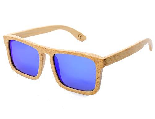 Mini Tree Vintage Bambus Sonnenbrille Polarisiert Sonnenbrille Bambus Damen Herren Sonnebrille Holz Verspiegelt 100% UV400 Schutz Outdoor Brille mit Etui Gross (Blau)