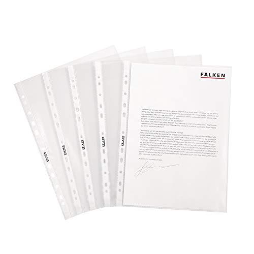 Original Falken 100er Pack Economy PP-Kunststoff Prospekthüllen. Für DIN A4 transparent genarbt oben offen Klarsichtfolie Plastikhülle Klarsichthülle ideal für Ordner Ringbücher und Hefter
