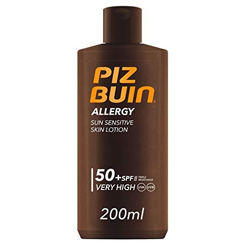 Piz Buin Allergy Sonnencreme mit LSF 50+, Sonnenschutz für empfindliche Haut, wasserfest und schnell einziehend, 200 ml