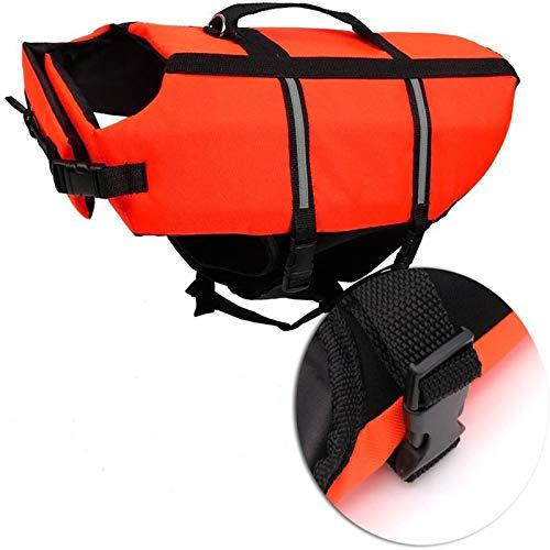 Ploopy Light Weight Haustier Hundeschwimmweste Schwimmsicherheitsweste, Nacht reflektierende Schwimmweste für Hunde Orange (XL)