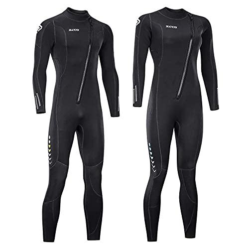 ZCCO Ultra-Stretch-Neoprenanzug, 3 mm, Frontreißverschluss, Ganzkörper-Tauchanzug, einteilig, für Männer und Frauen, Schnorcheln, Tauchen, Schwimmen, Surfen, Frauen L