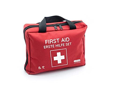 Erste-Hilfe-Tasche mit Sofort-Kältekompressen, Rettungsdecke und Pflastersortiment (103-teilig, rot) (Großes Erste-Hilfe Set)