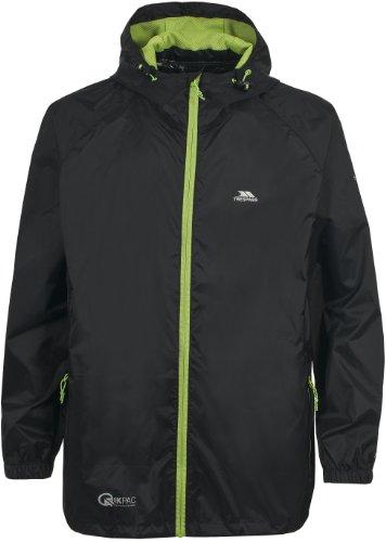 Trespass Unisex Erwachsene Qikpac Jacket Kompakt Zusammenrollbare Wasserdichte Regenjacke, Schwarz (Black), XL