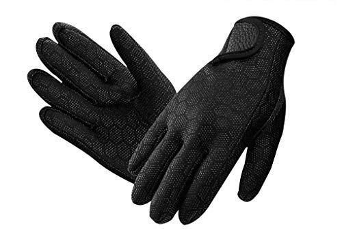 Neoprenhandschuhe Wasserdicht Tauchhandschuhe 1.5mm, Thermo Tauch Handschuhe Anti-Rutsch Neopren Handschuhe für Männer und Frauen,Schnorcheln,Kajakfahren,Surfen,L-Schwarz