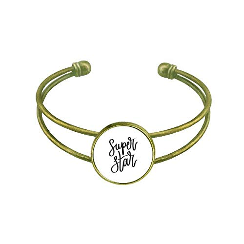 DIYthinker Super Star Quote Art Deco Gift Fashion Bracelet Bangle Retro Open Cuff Jewelry