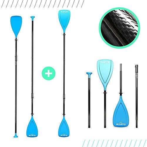 Bluefin SUP-Paddel aus Karbonfasern | Paddle-Board | Kayak | 3-teilig | Längenverstellbar | Leichtgewichtig | Hybrid | 170 cm – 220 cm | Schwarz/Blau | Paddel für SUP & Kayak