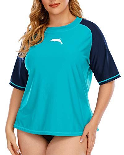 Halcurt Damen UPF 50+ Rash Guard Kurzarm UV-Schutz UV Bekleidung XXL