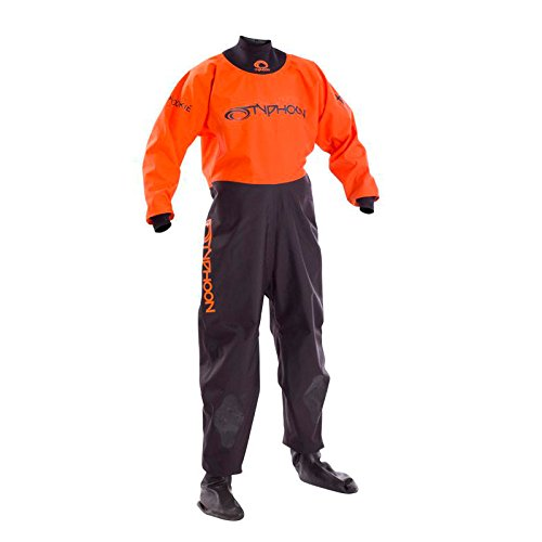 Typhoon Kinder Jugend Junior Rookie Drysuit Dry Suit NeoprenWetsuit Seals Schwarz Orange. Atmungsaktiv - Unisex