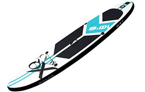 Professionelles Stand up Paddel Board - SUP von XQ Max - 320cm - komplettes Set mit Pumpe, Flickwerkzeug, Fußleine, verstellbares Paddel und wasserdichte 2L Tasche - Grün