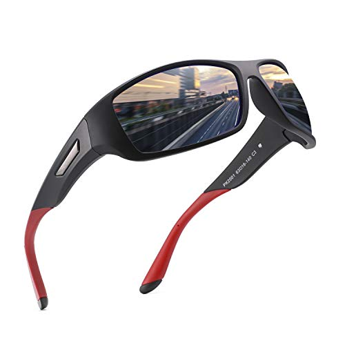 PUKCLAR Sonnenbrille Herren Polarisierte Sportbrille Radsportbrillen Fahrerbrille Damen UV400 Schutz, L, C3 Schwarz / Blau Verspiegelt