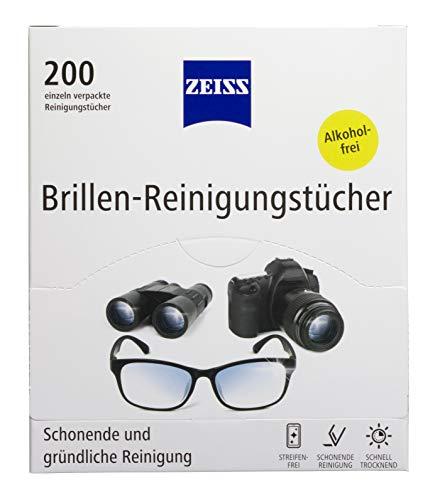 ZEISS Brillen-Reinigungstücher 200 Stück zur schonenden & gründlichen Reinigung Ihrer Brillengläser - jedes Tuch einzeln verpackt - ideal für unterwegs oder auf Reisen