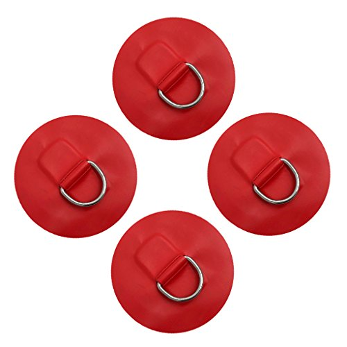 4er-Set Edelstahl D Ring Pad zu kleben Boot Kajak Hardware - Rot