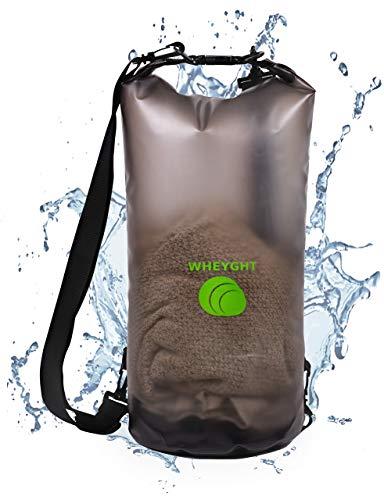 WHEYGHT NEU Drybag 10l absolut wasserfest I Rucksack wasserdicht in transparent - Geräumiger und wetterfester Trockensack - Seesack für Schwimmen, Bootfahren & Angeln I Dry Bag