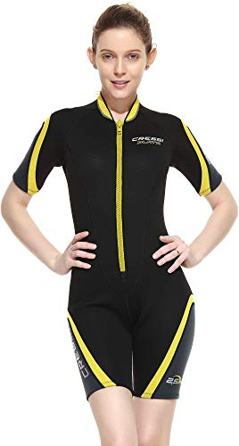 Cressi Damen Playa Lady Shorty Diving und Snorrkeling Neoprenanzug 2.5mm, Schwarz/Yellow, XS/1
