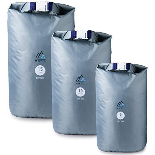 MNT10 Dry Bag Ultra-Light I Drybag in 5l, 10l, 15l I Wasserfeste Tasche Ultraleicht für Reisen, Outdoor und Camping I Trockenbeutel leicht & widerstandsfähig (01 - Grau, 10 Liter)