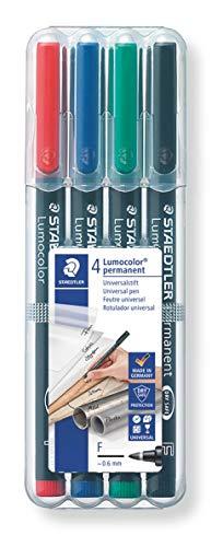 STAEDTLER Lumocolor 318 WP4 Folienstift, permanent, wasserfest, wischfest, sekundenschnell trocken, F-Spitze Linienbreite ca. 0.6 mm, hohe Qualität, Set mit 4 Farben,Schwarz, Blau, Grün, Rot