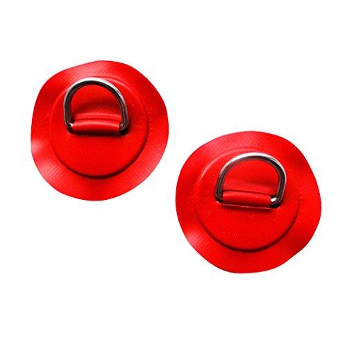 MagiDeal 2 Stück Edelstahl D-Ring Pad Für Schlauchboot Deck Befestigung (Rot)