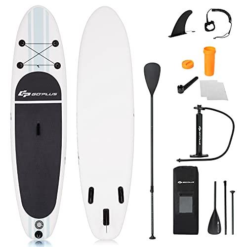 GOPLUS 305 x 76 x 15 cm SUP Paddelboard aufblasbares Surfboard Stand Up Paddel Board Set Surfbrett, mit Pumpe, Paddel und Rucksack, Farbwahl (Weiß + grau)