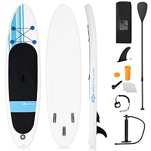 COSTWAY 305 x 76 x 15cm Stand Up Paddling Board, SUP Board aufblasbar, Paddelboard mit Sicherheitsleine, Paddel, Pumpe, Center Finne, Rucksack und Reparaturset (Weiß + blau)