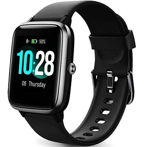 Smart Watch Fitness Tracker Fitness Armband mit herzfrequenz,SmartWatch IP68 Wasserdicht Fitness Uhr Voller Touchscreen mit Musiksteuerfunktion Schlafmonitor Uhren für Damen Herren Kinder (All-Black)