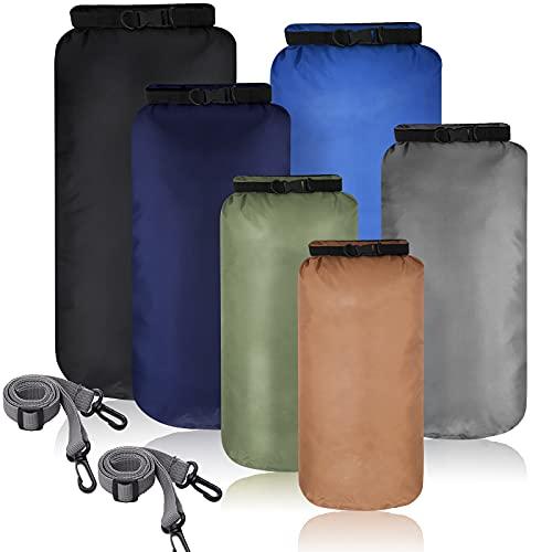 6 Stücke Dry Bag wasserdichte Beutel Wasserfeste Tasche Seesack Wasserdicht Packsack Set Leichte Luftdichte Kombi Set mit 20 L 15 L 10 L 8 L 5 L 3 L Säcken und Lange Verstellbare Schulterriemen