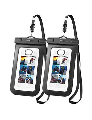 UGREEN wasserdichter Beutel wasserdichte Handyhülle Unterwasser Handy Hülle wasserfest 2 Stück kompatibel mit iPhone 11 Pro XR 8 Plus, S20 A50, Huawei P30 Pro, XiaoMi Note 7 usw. bis 6.5 Zoll