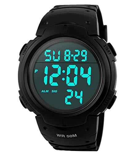 RSVOM Herren Digital Quarz Uhren mit Schwarz Silikon Armband 50M Wasserdicht Big Face Sport Armbanduhr mit Wecker Stoppuhr mit LED-Hintergrundbeleuchtung Digitaluhren für Männer