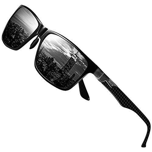 DUCO Herren Polarisierte Sonnenbrille mit Rechteckig Metallrahmen und Kohlefaser Brille Beine UV400 CAT 3 CE 8206