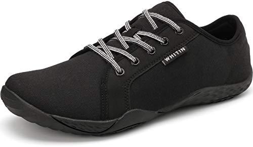 WHITIN Damen Canvas Sneaker Barfussschuhe Traillaufschuh Barfuss Schuhe Barfußschuhe Minimalschuhe Zehenschuhe für Frauen Tennisschuh Atmungsaktive Tennis Joggingschuhe Schwarz gr 38 EU