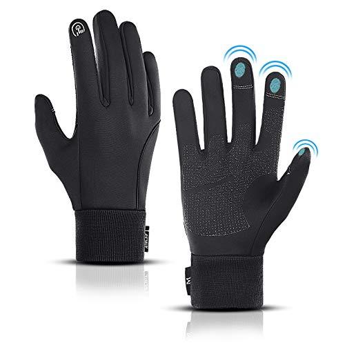 LERWAY Winter Warme Handschuhe, Touchscreen Winterhandschuhe Herren Damen Fahrradhandschuhe Sport Winddichte Handschuhe MTB Handschuhe Schwarz zum Radfahren, Laufen, Fahren, Joggen, Skifahren (XL)