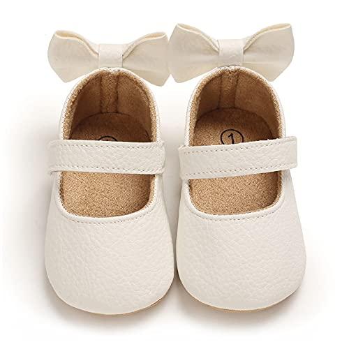 Cheerful Mario Lauflernschuhe Baby Mädchen Taufe Schuhe für Kleinkind Weiches Leder Schleife schöne Babyschuhe Weiß 12-18 Monate