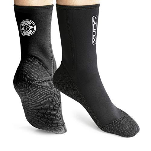 PAWHITS Neopren-Socken für Neoprenanzug 3 mm Thermosocken rutschfest für Herren und Damen zum Tauchen Schnorcheln Schwimmen Surfen Segeln Kajakfahren L Schwarz