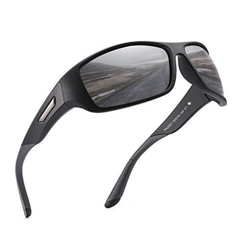 PUKCLAR Sonnenbrille Herren Polarisierte Sportbrille Radsportbrillen Fahrerbrille Damen UV400 Schutz, L, C1 Schwarzer Rahmen / Cat 3 Grau