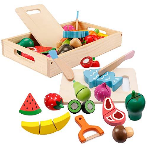 Spielküche Zubehör, Kinderküche Zubehör Holz, Küche Kinder Holzspielzeug, Obst Gemüse und Fleisch Kochsimulation Lernspielzeug für 3+ Jährige Jungen und Mädchen