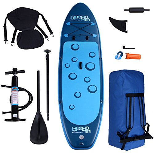 Blueborn Sup Traveller Blue 305x77x11 Stand up Paddle Board mit Sitz Fußstütze Paddel Pumpe Tasche