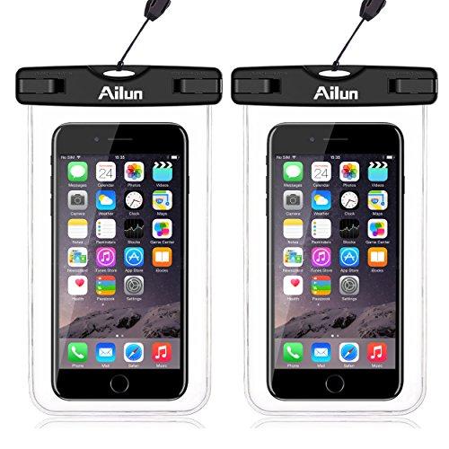 Ailun 2 Stück wasserdichte Handyhülle Tasche Beutel, Staubdichte Schutzhülle für iPhone X/Xs/8/7 Plus, Galaxy S10/S9/S8/S7, Huawei usw bis zu 6 Zoll, Super Hülle für Den Strand und Wassersport (Klar)