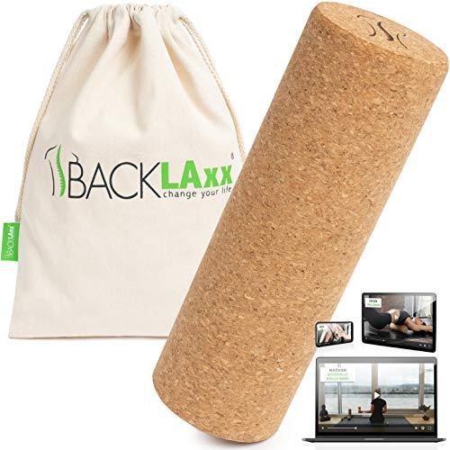 BACKLAxx Faszienrolle Set aus Kork - Korkrolle ideal für Faszien, Rücken und Wirbelsäule - Schadstofffrei und antibakteriell inkl. Anwendungsvideos
