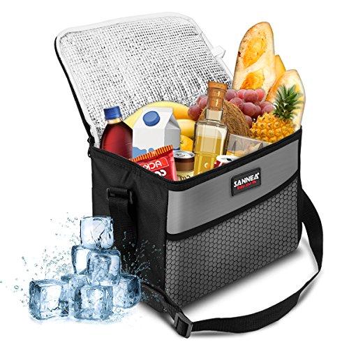 NASUM Kühltasche Picknicktasche Thermotasche Lunch Tasche isolierte Sanne Kühlbox Lebensmitteltransport für Büro Arbeit Outdoor Camping Reisen, Eistasche klappbar faltbar 10L,27x17x21cm(grau)