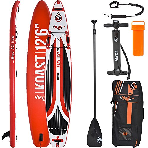 SKIFFO Koast 12.6 SUP 381 x 76 x 15 cm Inflatable Isup aufblasbar Alu-Paddel Stand Up Paddle Board Set Pumpe Surfboard Paddelset